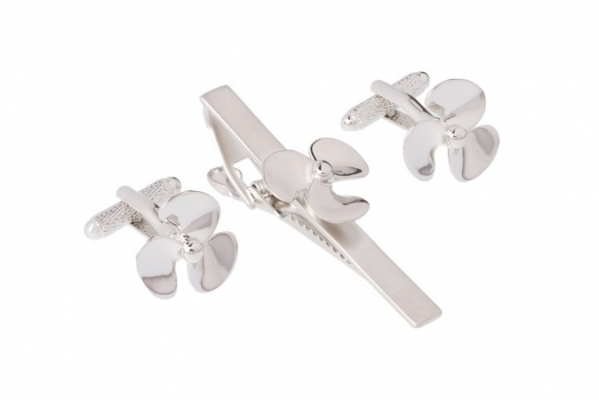Ships Propeller Tie Bar Clip and Cufflink Set